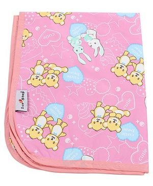 1st Step Diaper Changing Mat Bear and Bunny Print - Pink
