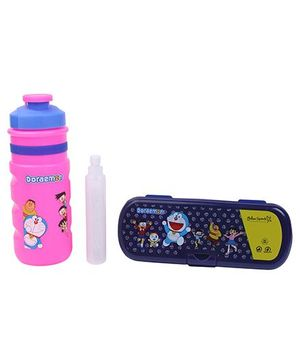 Doraemon Sipper Bottle with Ice Tube and Pencil Box Set - Blue and Pink