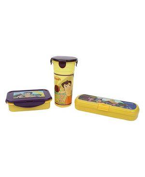 Chhota Bheem Tumbler, Pencil Box and Lunch Box Set - Yellow and Purple