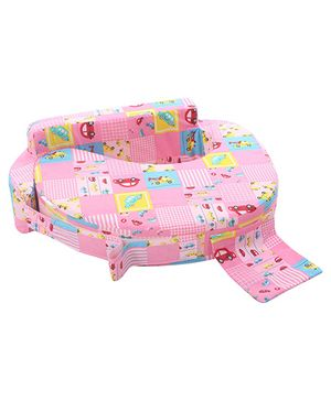 Babyhug Feeding Pillow Small N Big Cars Print - Pink