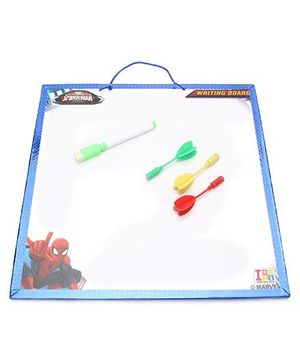 Marvel Spiderman 2 in 1 First Wipe & Write and Dart Board - White