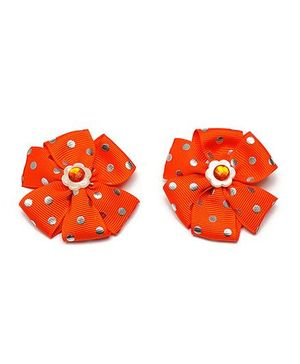 Ribbon Candy Pinwheel Alligator Clips - Orange