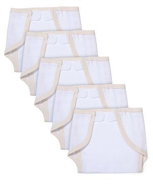 Babyhug Muslin Cotton Cloth Nappies With Velcro Large Set Of 5 - White & Peach