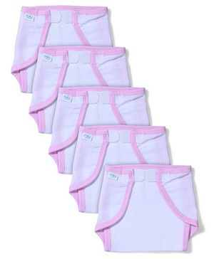 Babyhug Muslin Cotton Cloth Nappies With Velcro Medium Set Of 5 - White & Pink