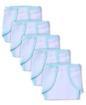 Babyhug Muslin Cotton Cloth Nappies With Velcro Large Set Of 5 - White & Aqua