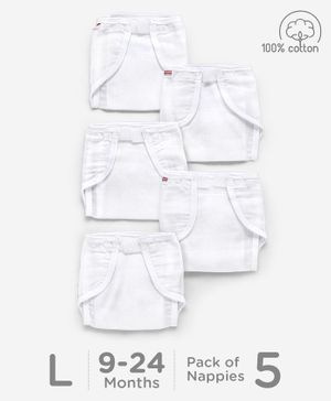 Babyhug Muslin Cotton Reusable Cloth Nappies With Velcro Large Set Of 5 - White