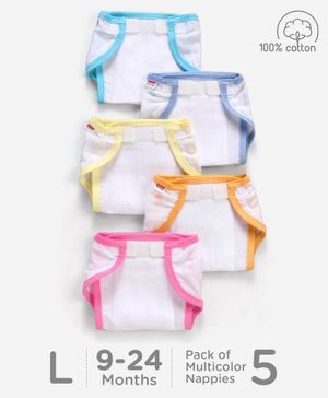 Babyhug Muslin Cotton Cloth Nappies With Velcro Large Set Of 5 - Multicolor