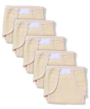 Babyhug Muslin Cotton Cloth Nappies With Velcro Medium Set Of 5 - Peach