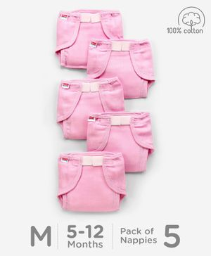 Babyhug Muslin Cotton Cloth Nappies With Velcro Medium Set Of 5 - Pink