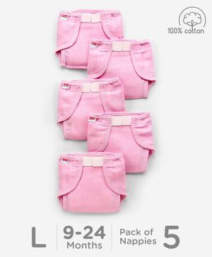 Babyhug Muslin Cotton Cloth Nappies With Velcro Large Set Of 5 - Pink