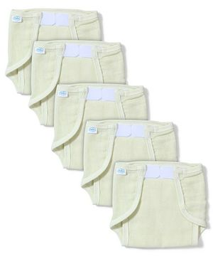 Babyhug Muslin Cotton Cloth Nappies With Velcro Large Set Of 5 - Lemon