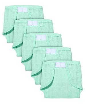 Babyhug Muslin Cotton Cloth Nappies With Velcro Medium Set Of 5 - Aqua
