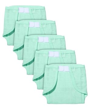 Babyhug Muslin Cotton Cloth Nappies With Velcro Large Set Of 5 - Aqua