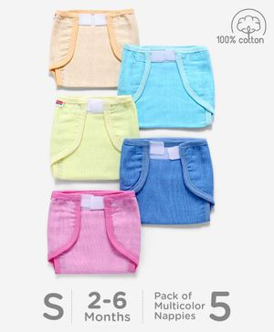 Babyhug Muslin Cotton Reusable Cloth Nappies With Velcro Small Set Of 5 - Solid Assorted Color