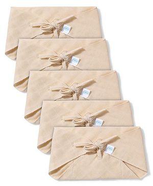 Babyhug Muslin Cotton Triangle Cloth Nappies Medium Set Of 5 - Peach