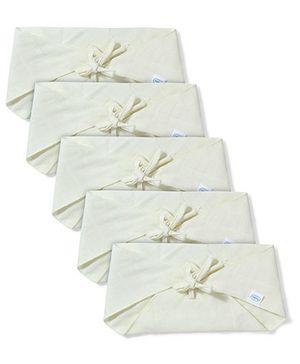 Babyhug Muslin Cotton Triangle Cloth Nappies Large Set Of 5 - Lemon