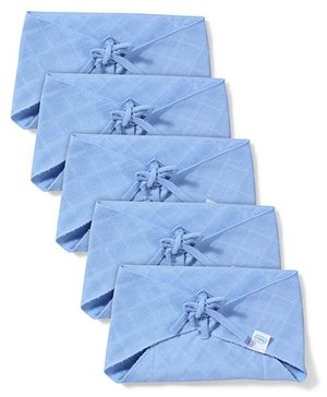 Babyhug Muslin Cotton Triangle Cloth Nappies Large Set Of 5 - Blue
