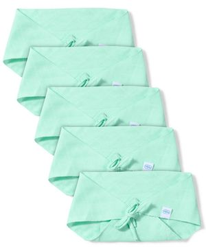 Babyhug Muslin Cotton Triangle Cloth Nappies Small Set Of 5 - Aqua