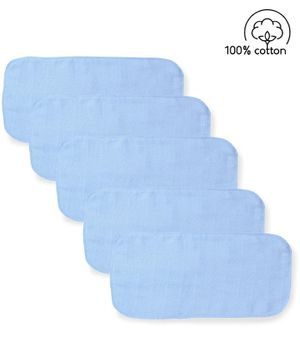 Babyhug  Muslin Cotton Cloth Nappy Insert  Pack Of 5 - Blue