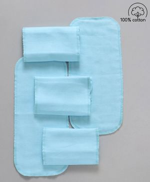 Babyhug  Muslin Cotton Cloth Nappy Insert  Pack Of 5 - Aqua