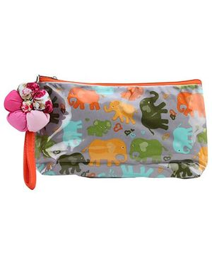 The Eed Pencil Pouch Elephant Print - Grey