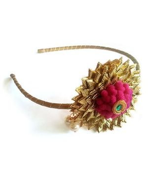 Soulfulsaai Flower Hair Band - Golden