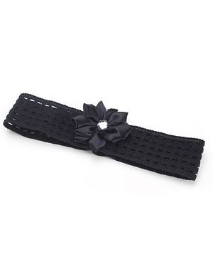 AddOn Headband With Flower Accent - Black
