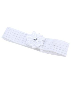 AddOn Headband With Flower Accent - White