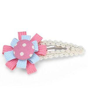 Clip Case Snap Clip Floral Applique - Pink and Blue