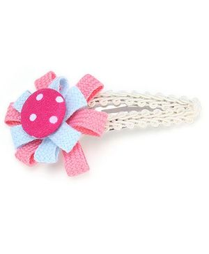 Clip Case Snap Clip Floral Applique - Blue and Pink