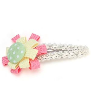 Clip Case Snap Clip Floral Applique - Yellow and Pink