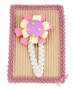 Clip Case Snap Clip Floral Applique - Pink and Yellow