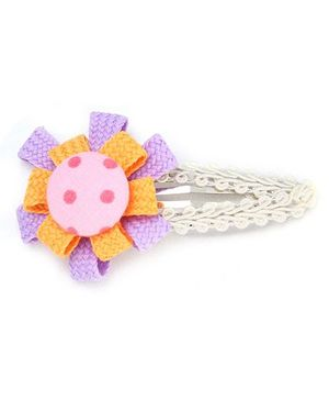 Clip Case Snap Clip Floral Applique - Orange and Purple