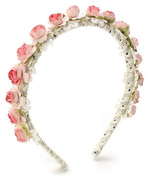 Sweet Berry Hair Band Flower Applique - Pink and White