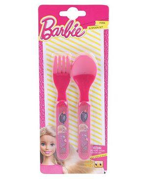 Barbie Spoon & Fork Set - Pink