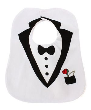 Little Hip Boutique Tuxedo Style Bib - White & Black