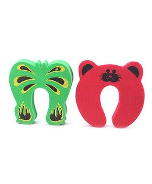Cutez Door Pinch Guard Pack of 2 Butterfly and Walrus Shaped - Red and Green