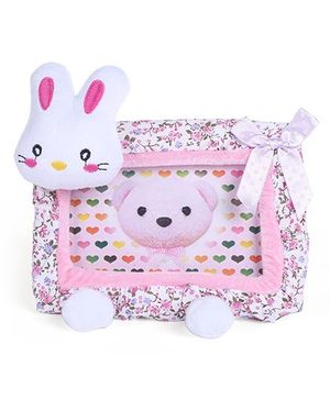 Bunny Face Rectangle Photo Frame with Bow and Flower Print - Pink