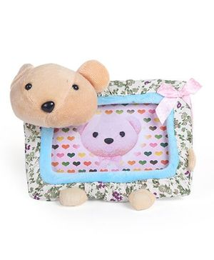 Teddy Face Rectangle Photo Frame with Bow and Flower Print - Blue