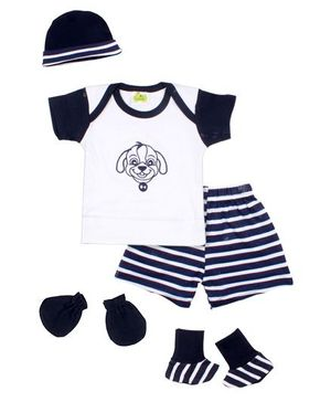 Beebop 5 Piece Baby Apparel Gift Set - White & Navy Blue