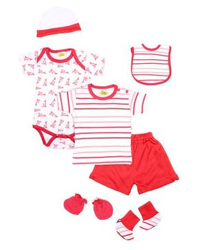 Beebop 7 Piece Baby Apparel Gift Set - Crimson Red
