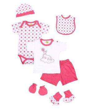 Beebop 7 Piece Baby Apparel Gift Set - Raspberry Pink