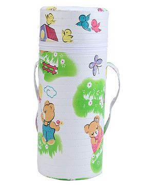 Insulated Single Bottle Bag Bear Print - White & Green