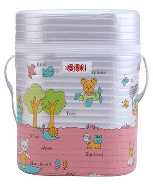 Insulated Double Bottle Bag Tree Print - White & Pink