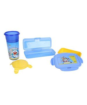 Doraemon Tumbler, Pencil Box and Lunch Box Set - Blue