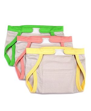Mi Dulce An'ya Organic Cotton Nappies With Velcro Closure Set of 3 - Grey Yellow Peach Green