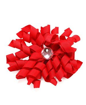 NeedyBee Korker Hair Clip With Rhinestone - Red