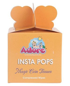 Adore Insta Pops Magic Coin Tissues Compressed Wipes - Pack Of 40