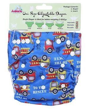 Adore Uni Size Adjustable Cloth Diaper With Insert To The Rescue Print - Dark Blue