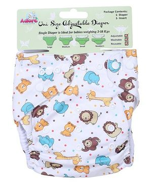 Adore Uni Size Adjustable Cloth Diaper With Insert Giraffe And Elephant Print - White
